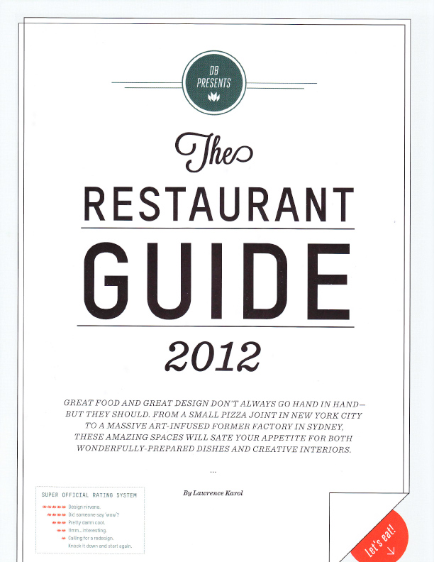 Lawrence karol design bureau july august 2012 the for Restaurant guide